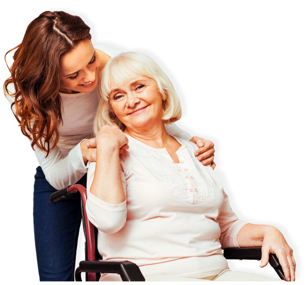 senior woman on wheelchair with her daughter holding her shoulders